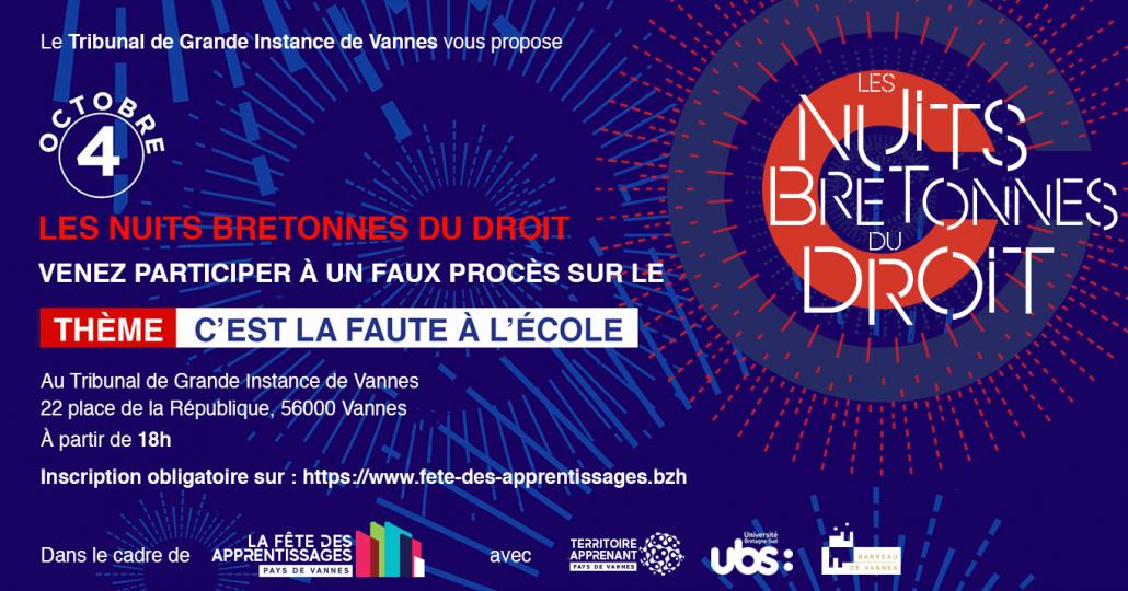 Invitation Nuits Bretonnes Du Droit Faux Procès Cest La Faute À Lécole Tgi De Vannes 4 Octobre 2019